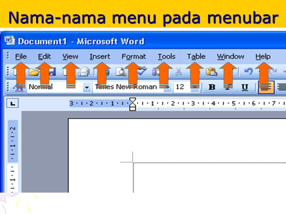 Nama-nama menu pada menubar