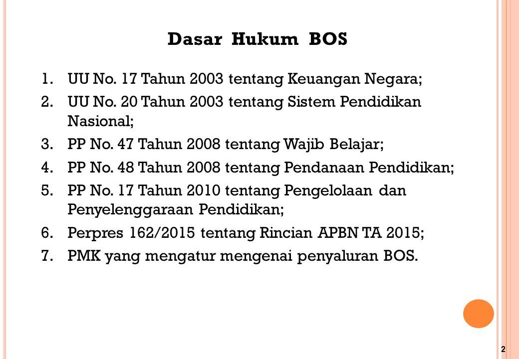 Dasar Hukum BOS UU No. 17 Tahun 2003 tentang Keuangan Negara;