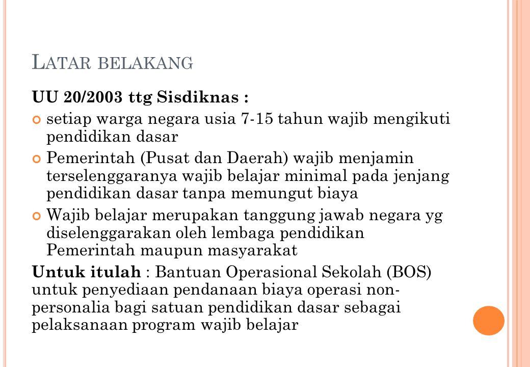 Latar belakang UU 20/2003 ttg Sisdiknas :