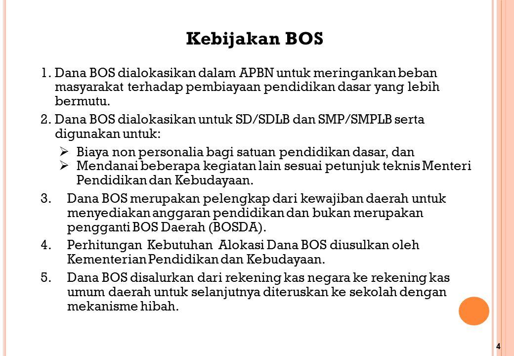 Kebijakan BOS Dana BOS dialokasikan dalam APBN untuk meringankan beban masyarakat terhadap pembiayaan pendidikan dasar yang lebih bermutu.