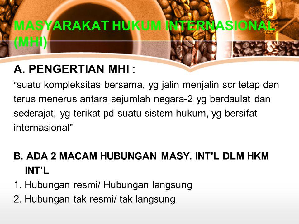 MASYARAKAT HUKUM INTERNASIONAL (MHI)