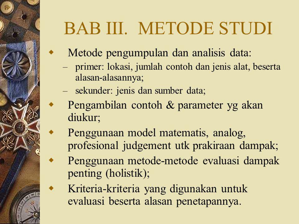 BAB III. METODE STUDI Metode pengumpulan dan analisis data: