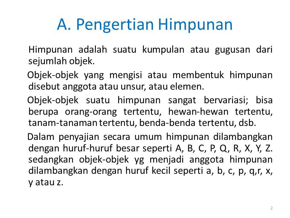 A. Pengertian Himpunan Himpunan adalah suatu kumpulan atau gugusan dari sejumlah objek.