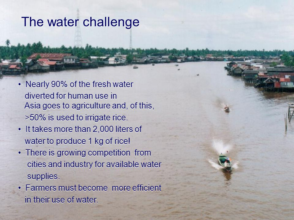 The water challenge Nearly 90% of the fresh water