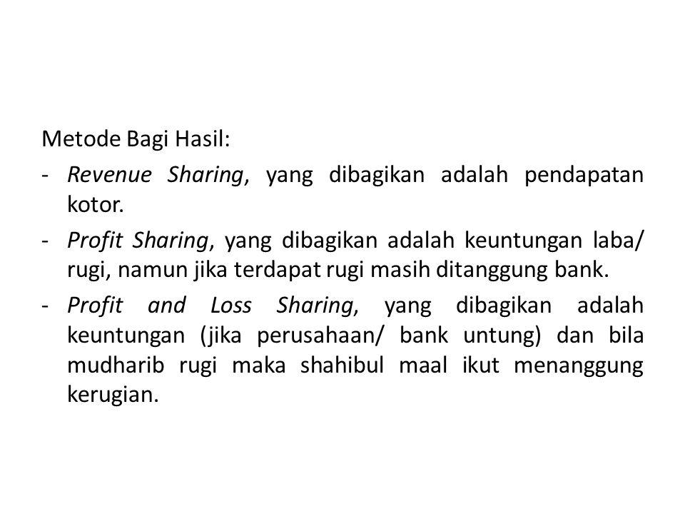 Metode Bagi Hasil: Revenue Sharing, yang dibagikan adalah pendapatan kotor.