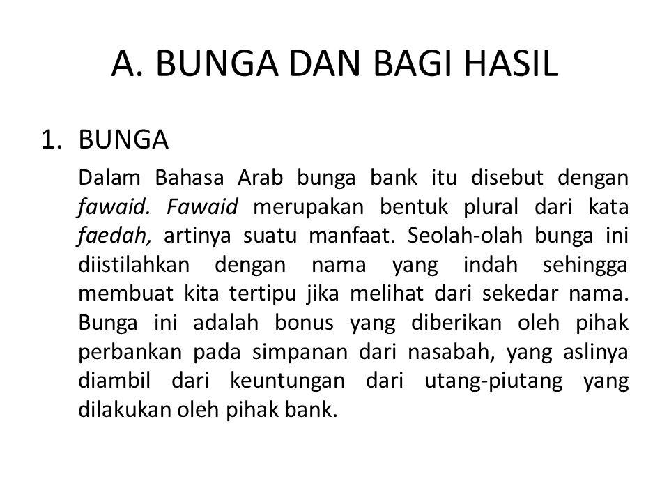 A. BUNGA DAN BAGI HASIL BUNGA