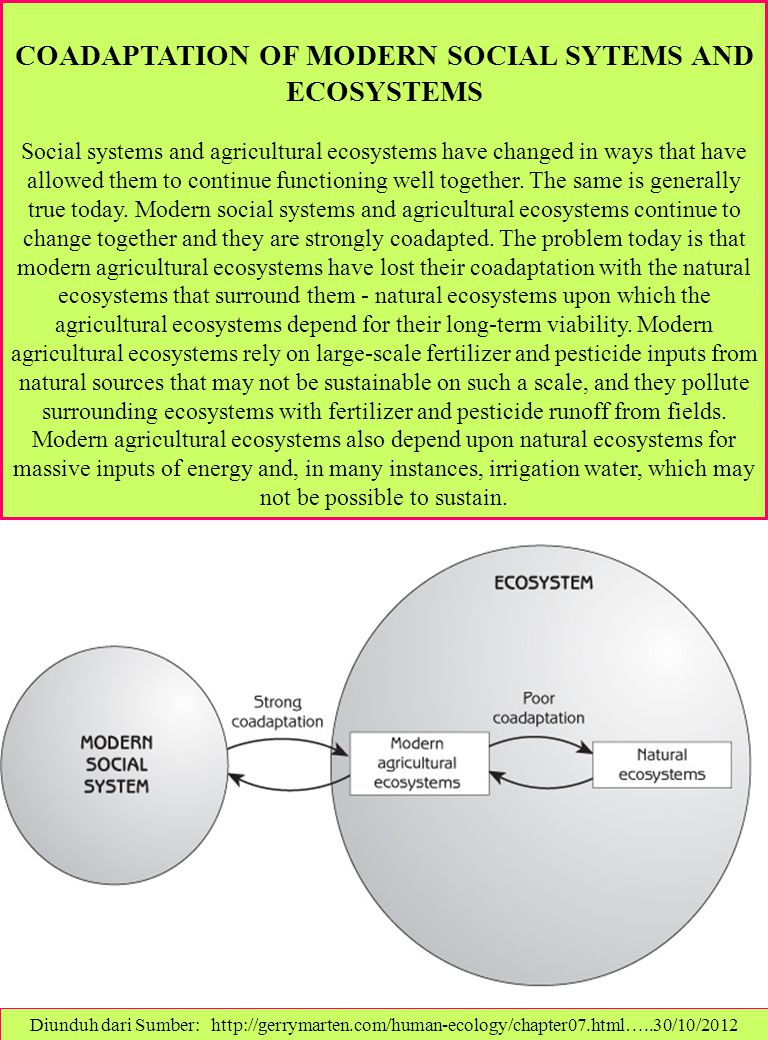 COADAPTATION OF MODERN SOCIAL SYTEMS AND ECOSYSTEMS