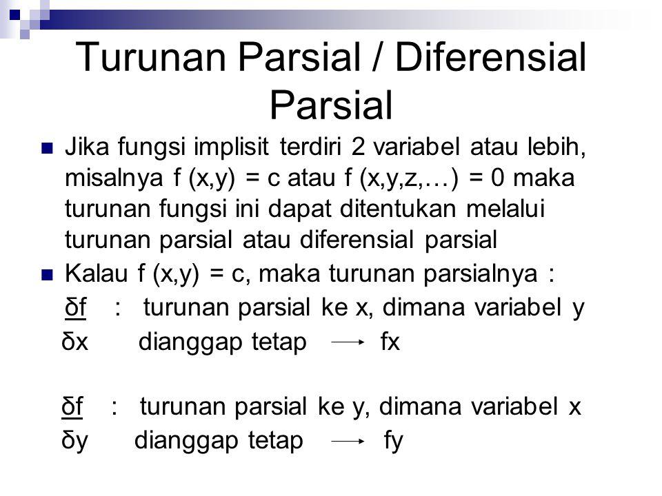 Turunan Parsial / Diferensial Parsial