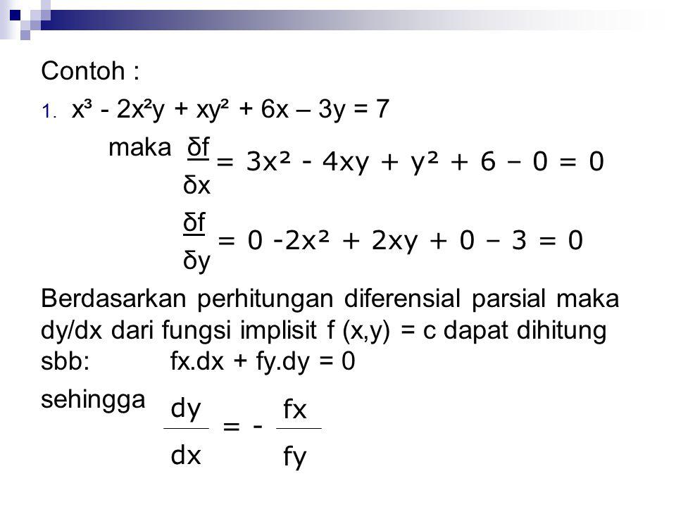 Contoh : x³ - 2x²y + xy² + 6x – 3y = 7. maka δf. δx. δf. δy.