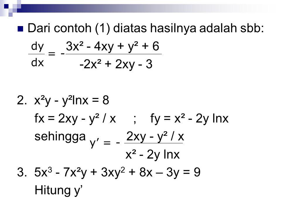 Dari contoh (1) diatas hasilnya adalah sbb: 3x² - 4xy + y² + 6