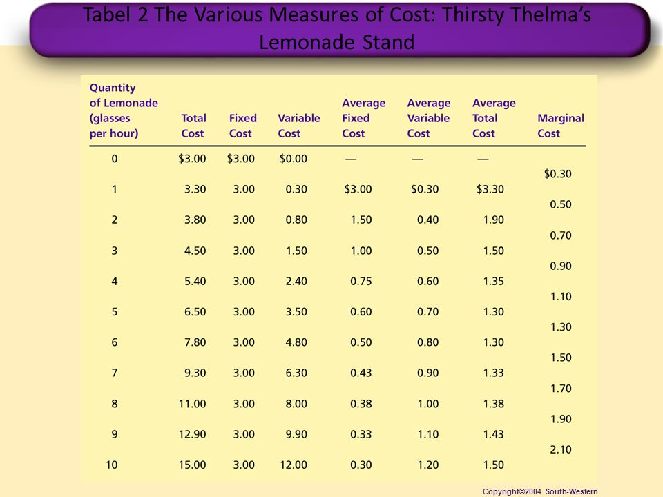 Tabel 2 The Various Measures of Cost: Thirsty Thelma's Lemonade Stand