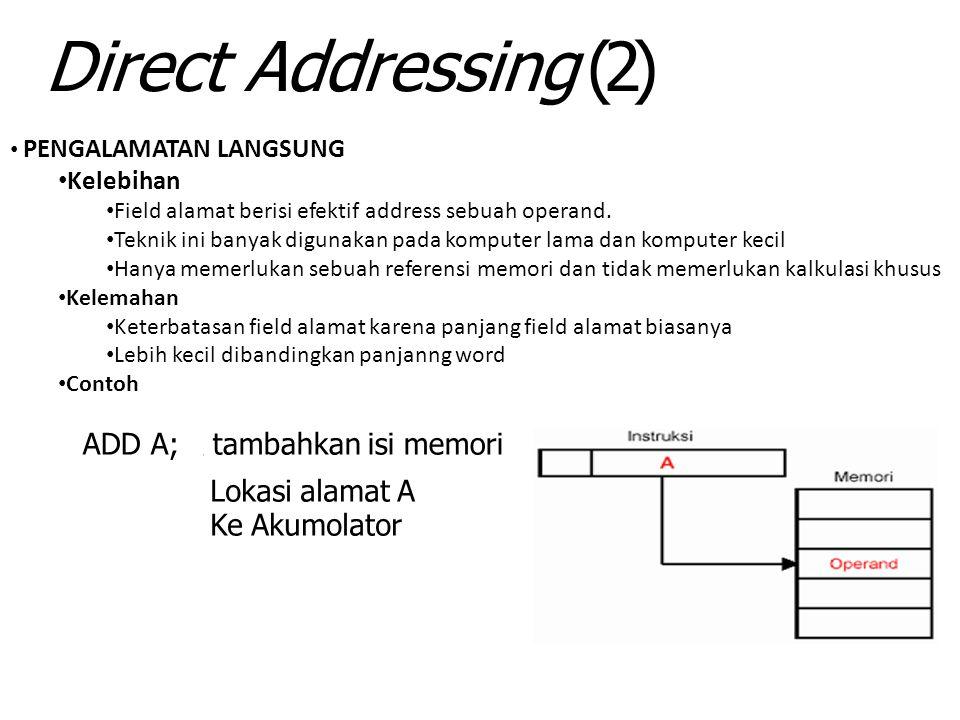 Direct Addressing (2) ADD A; Lokasi alamat A Ke Akumolator Kelebihan