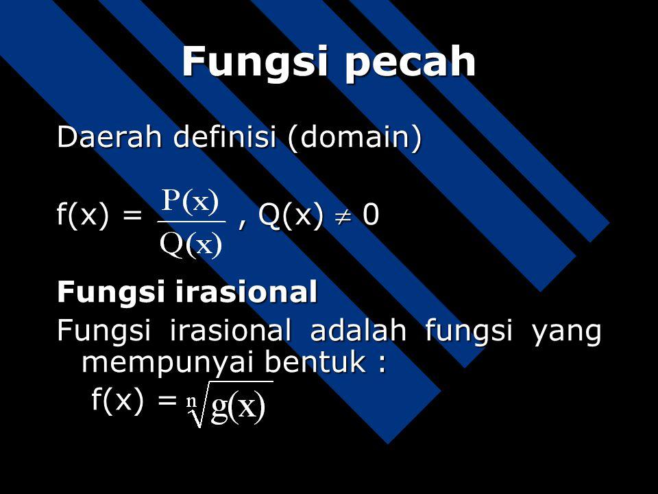 Fungsi pecah Daerah definisi (domain) f(x) = , Q(x)  0