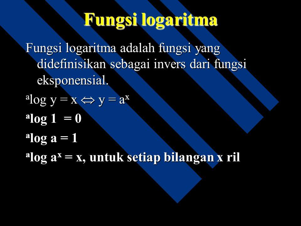 Fungsi logaritma Fungsi logaritma adalah fungsi yang didefinisikan sebagai invers dari fungsi eksponensial.
