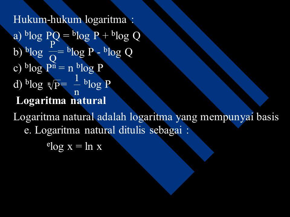 Hukum-hukum logaritma :