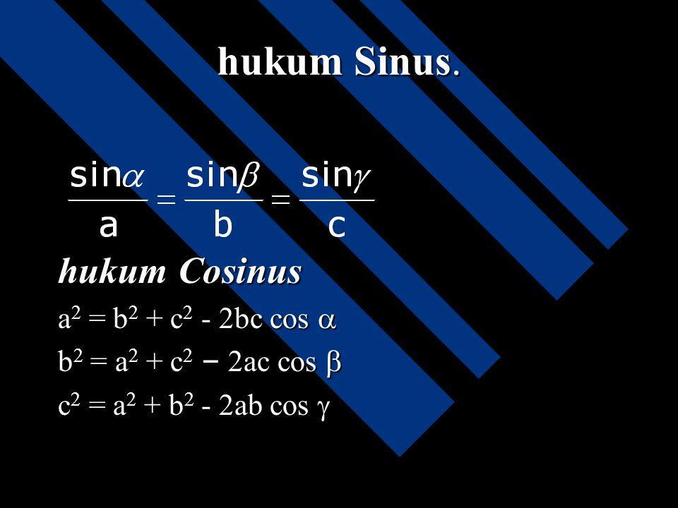 hukum Sinus. hukum Cosinus a2 = b2 + c2 - 2bc cos 