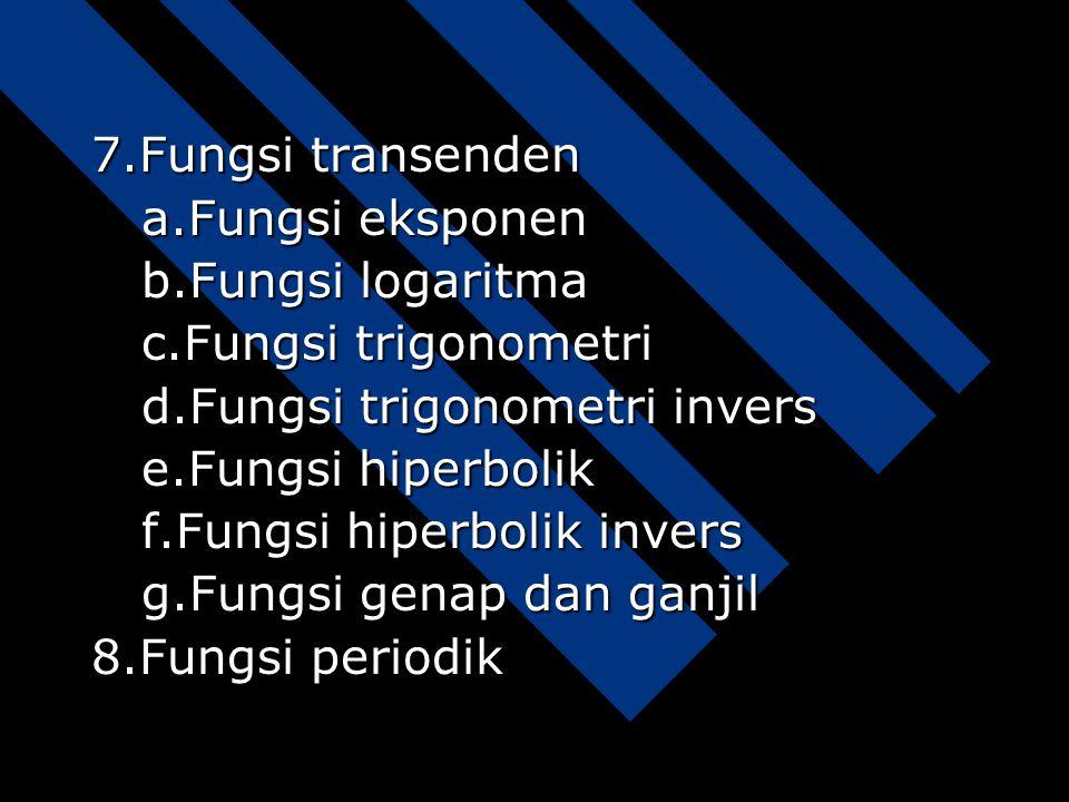 7.Fungsi transenden a.Fungsi eksponen. b.Fungsi logaritma. c.Fungsi trigonometri. d.Fungsi trigonometri invers.