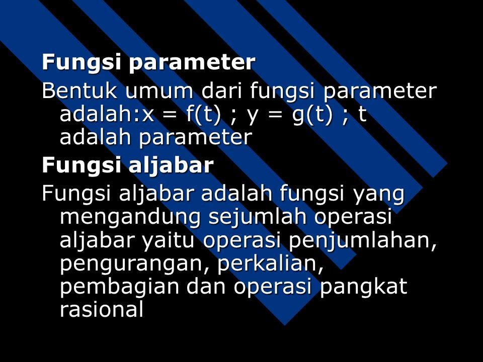 Fungsi parameter Bentuk umum dari fungsi parameter adalah:x = f(t) ; y = g(t) ; t adalah parameter.