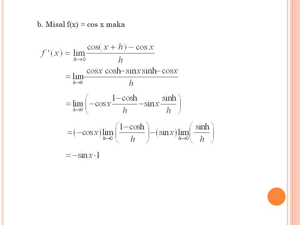 b. Misal f(x) = cos x maka
