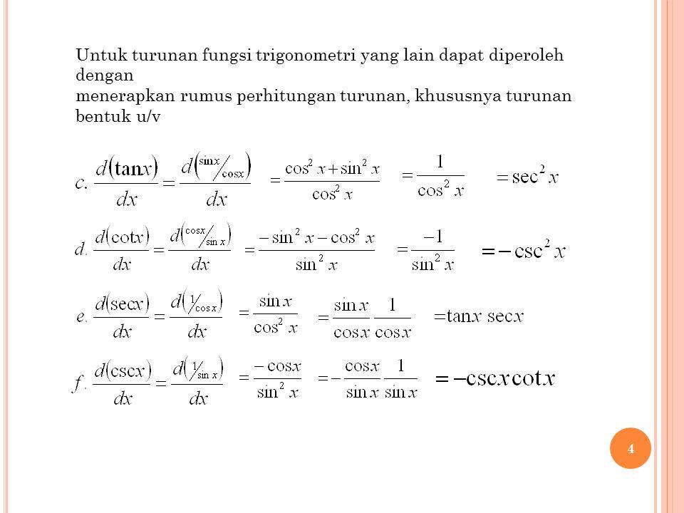Untuk turunan fungsi trigonometri yang lain dapat diperoleh dengan