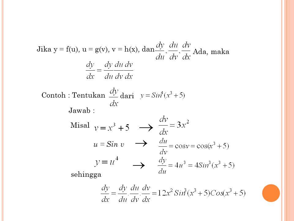 Jika y = f(u), u = g(v), v = h(x), dan
