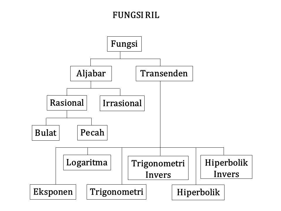 FUNGSI RIL Fungsi. Aljabar. Transenden. Rasional. Irrasional. Bulat. Pecah. Logaritma. Eksponen.