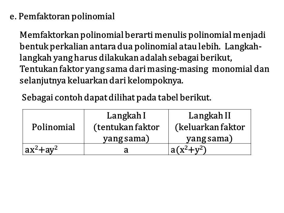 e. Pemfaktoran polinomial