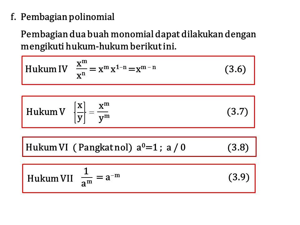 f. Pembagian polinomial