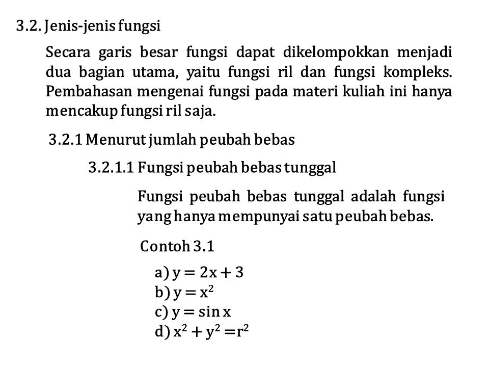 3.2. Jenis-jenis fungsi