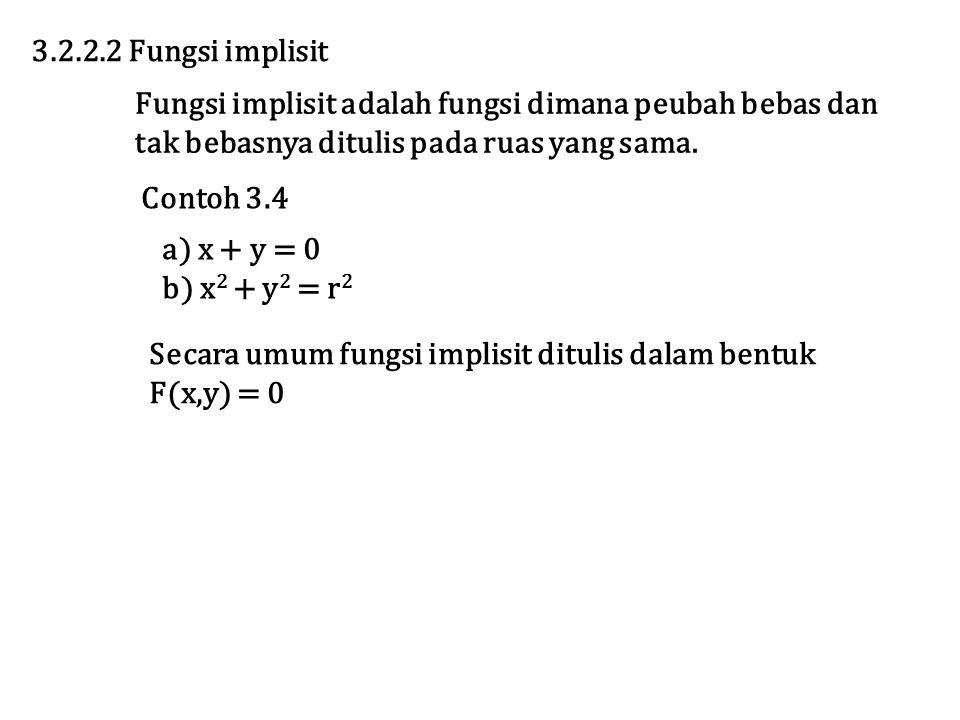 3.2.2.2 Fungsi implisit Fungsi implisit adalah fungsi dimana peubah bebas dan tak bebasnya ditulis pada ruas yang sama.