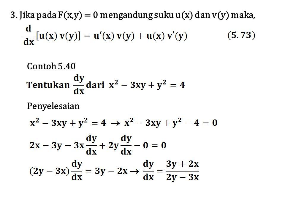 3. Jika pada F(x,y) = 0 mengandung suku u(x) dan v(y) maka,