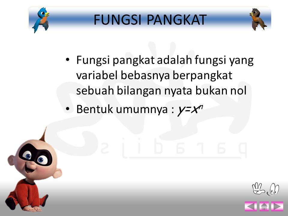 FUNGSI PANGKAT Fungsi pangkat adalah fungsi yang variabel bebasnya berpangkat sebuah bilangan nyata bukan nol.