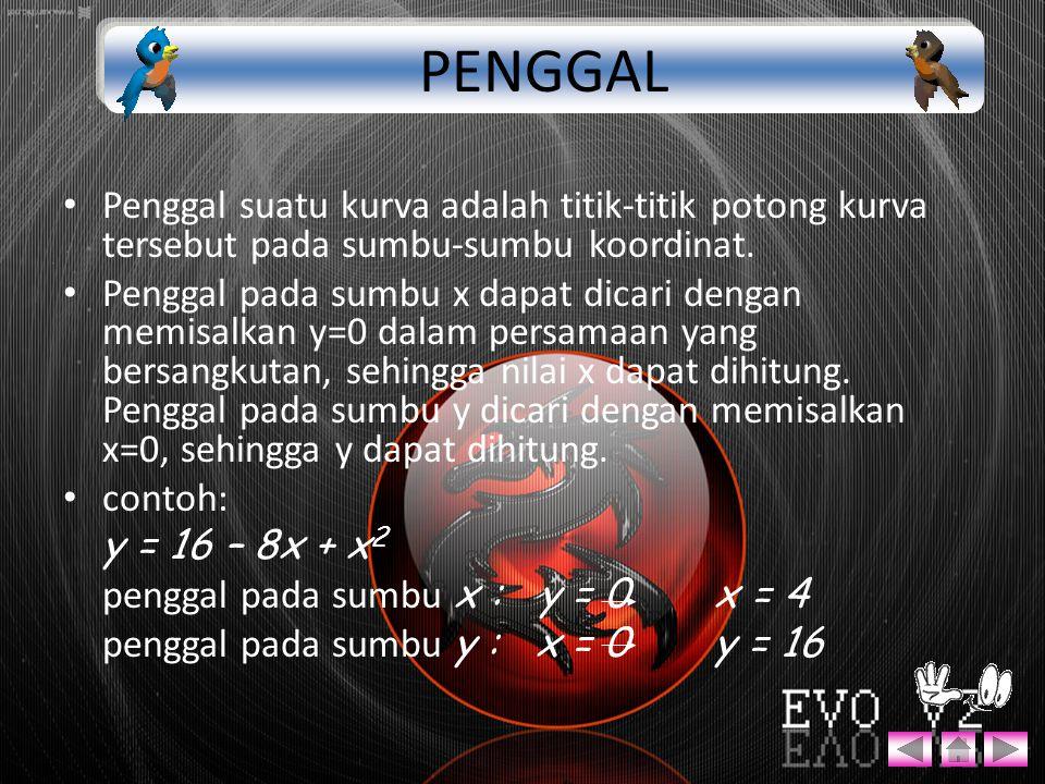 PENGGAL Penggal suatu kurva adalah titik-titik potong kurva tersebut pada sumbu-sumbu koordinat.