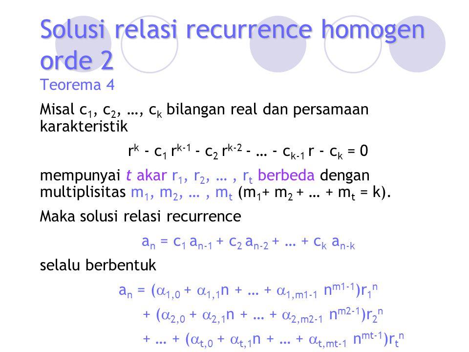 Solusi relasi recurrence homogen orde 2