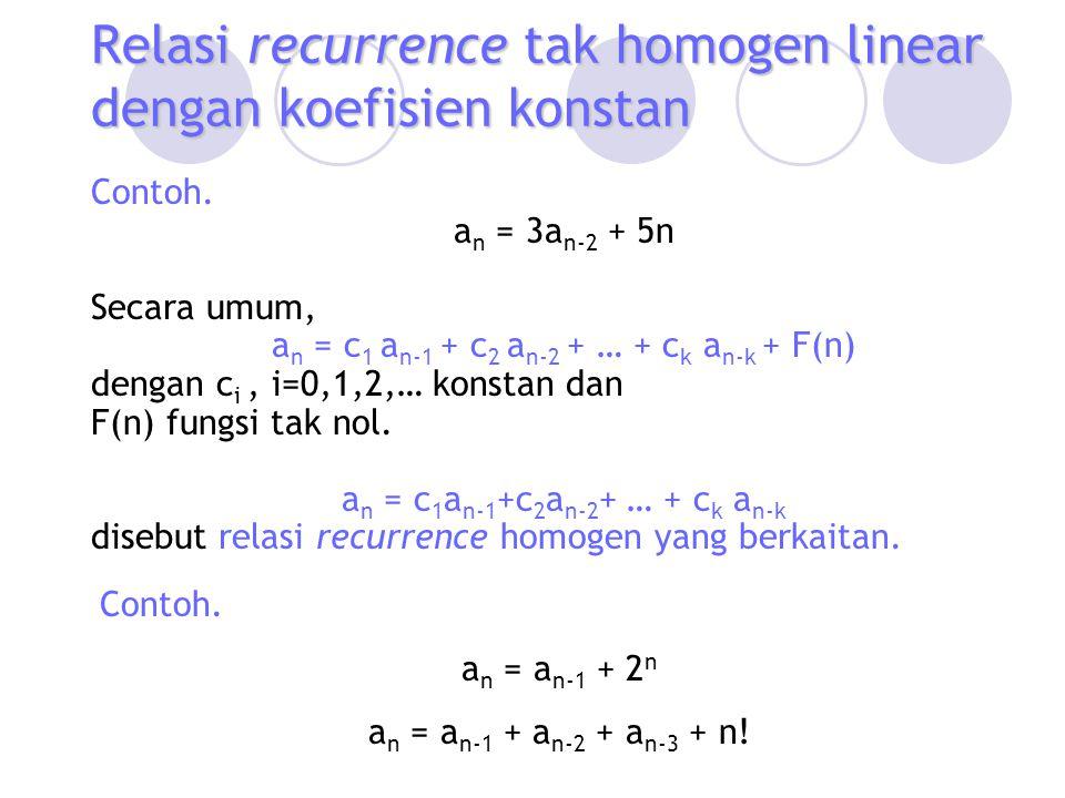 Relasi recurrence tak homogen linear dengan koefisien konstan