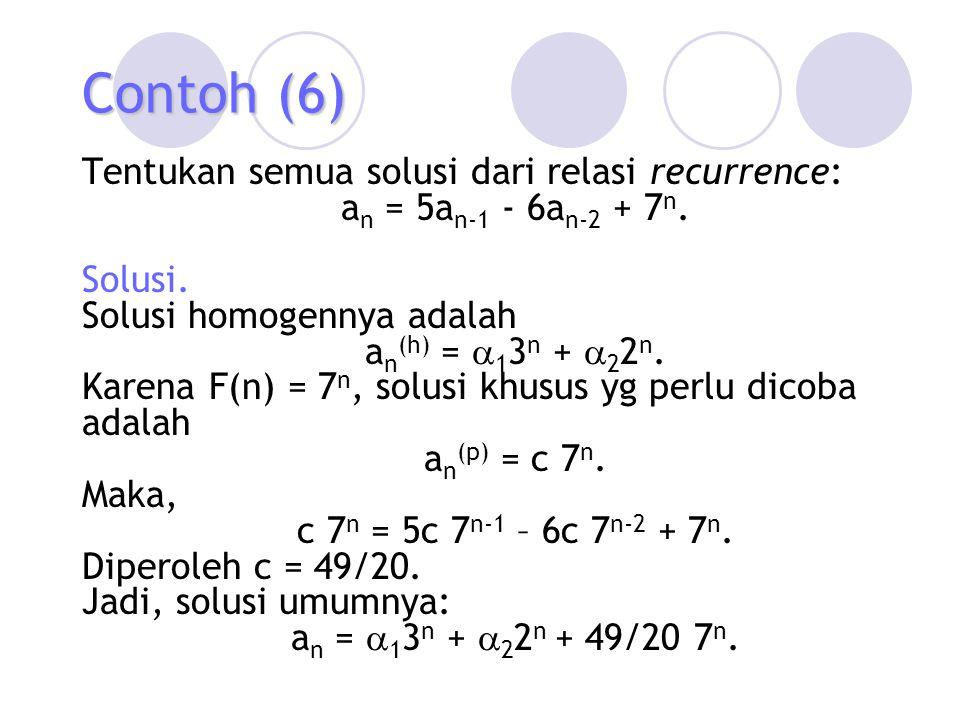 Contoh (6) Tentukan semua solusi dari relasi recurrence: