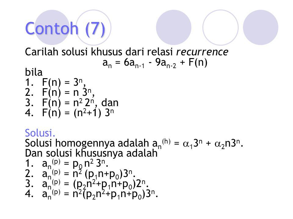 Contoh (7) Carilah solusi khusus dari relasi recurrence