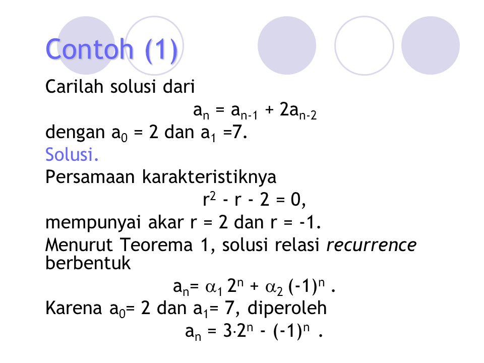 Contoh (1) Carilah solusi dari an = an-1 + 2an-2