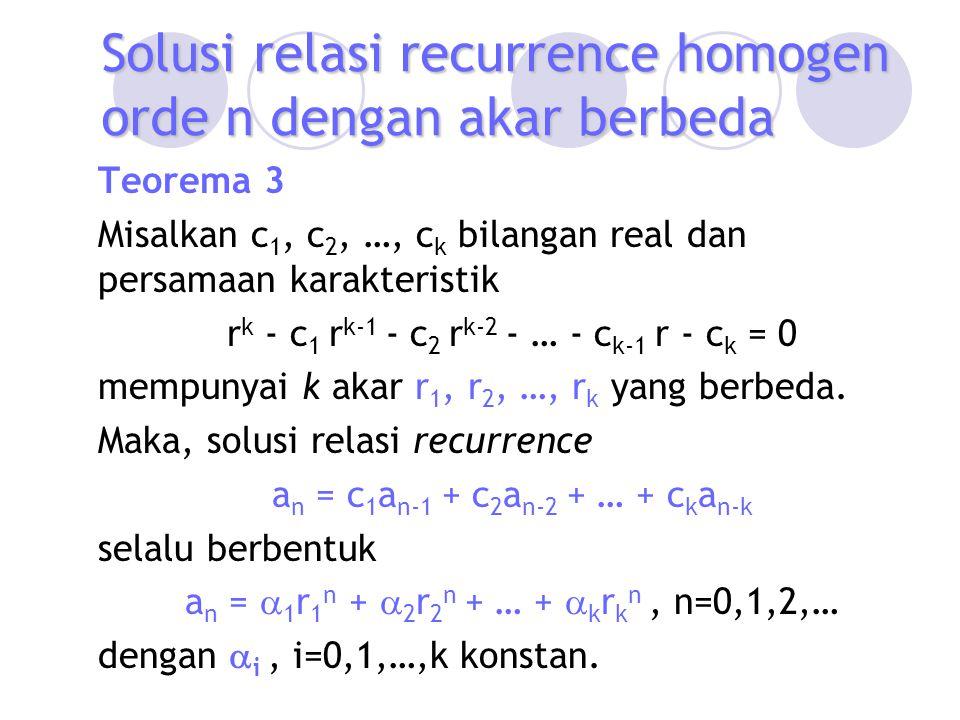 Solusi relasi recurrence homogen orde n dengan akar berbeda