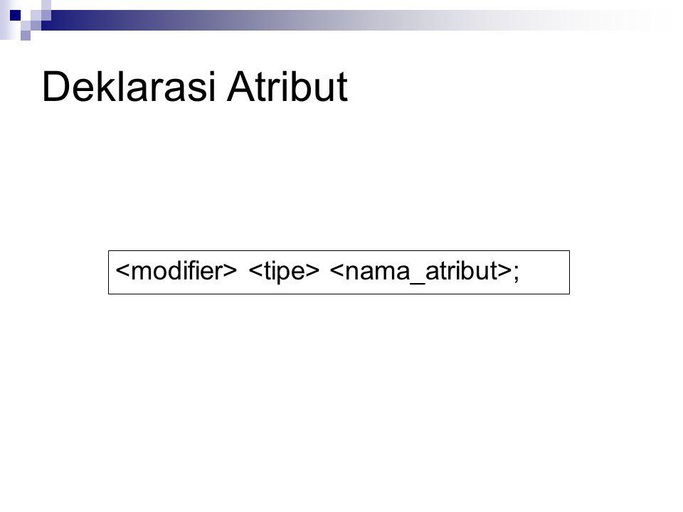 Deklarasi Atribut <modifier> <tipe> <nama_atribut>;
