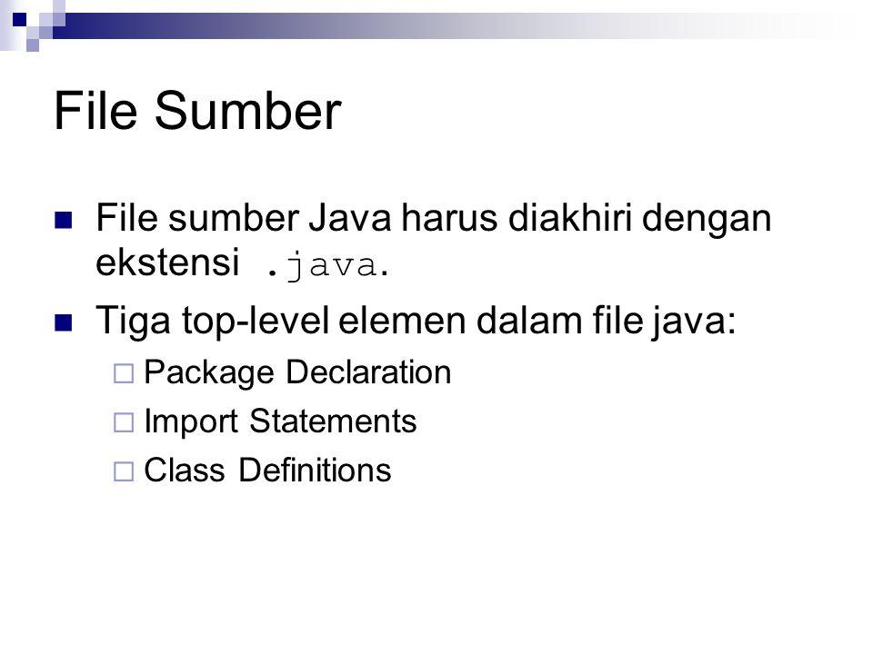 File Sumber File sumber Java harus diakhiri dengan ekstensi .java.