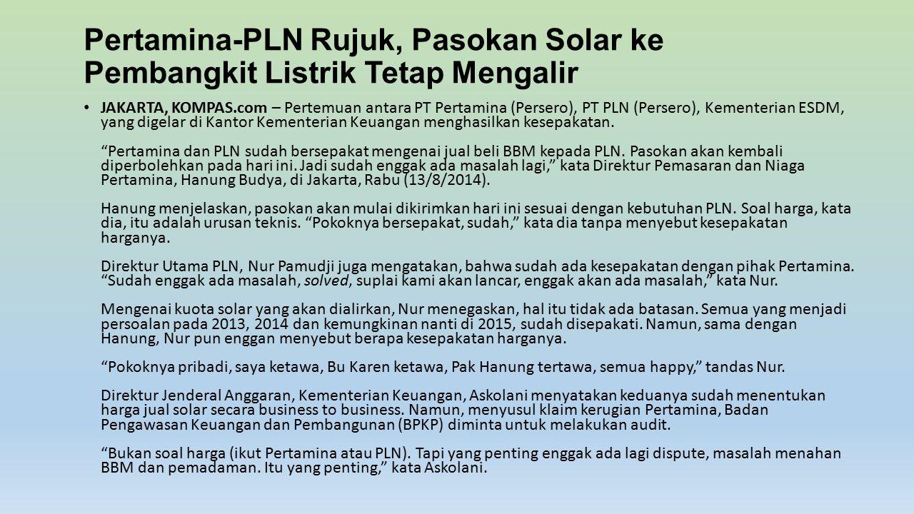 Pertamina-PLN Rujuk, Pasokan Solar ke Pembangkit Listrik Tetap Mengalir