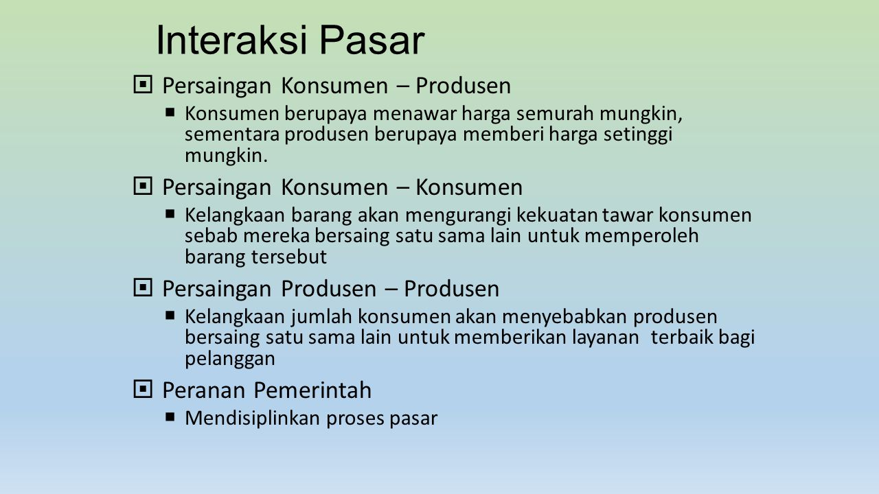Interaksi Pasar Persaingan Konsumen – Produsen