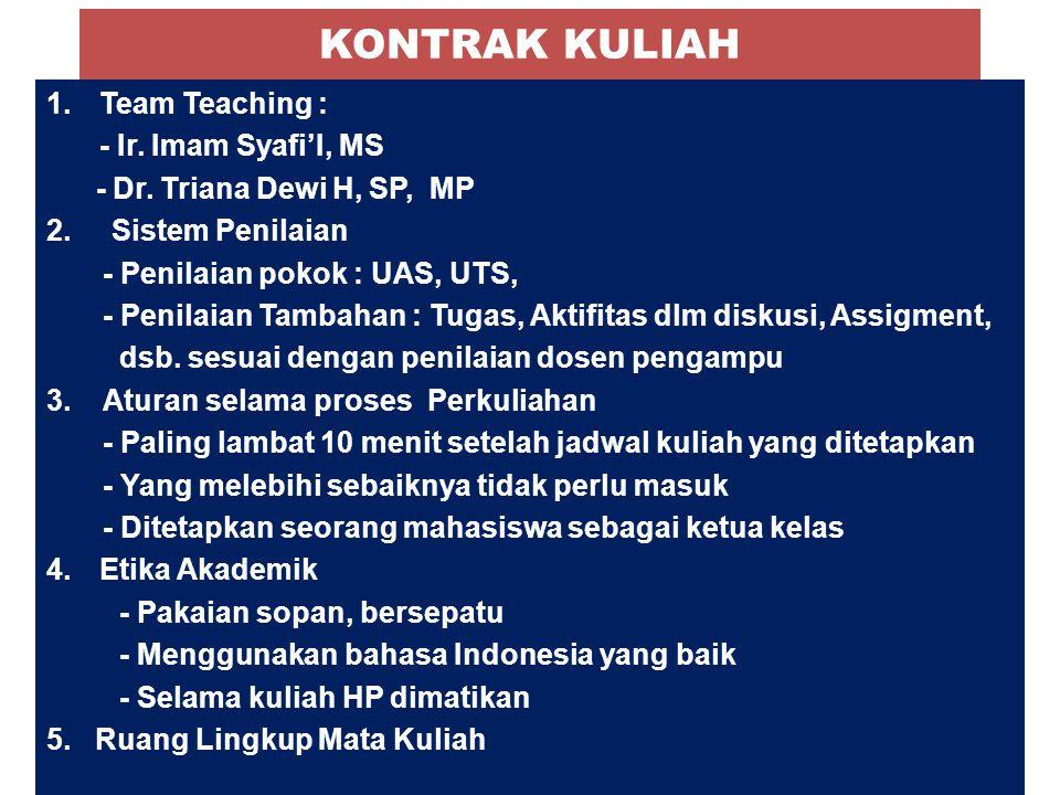 KONTRAK KULIAH Team Teaching : - Ir. Imam Syafi'I, MS