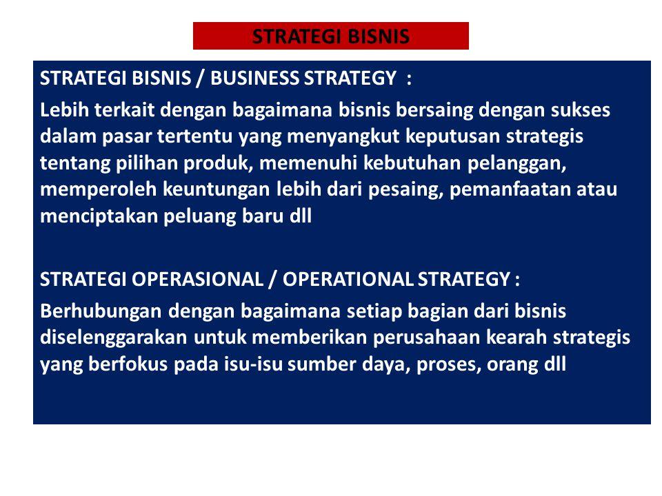 STRATEGI BISNIS STRATEGI BISNIS / BUSINESS STRATEGY :