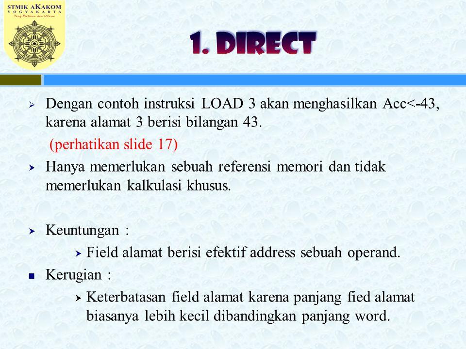 1. DIRECT Dengan contoh instruksi LOAD 3 akan menghasilkan Acc<-43, karena alamat 3 berisi bilangan 43.