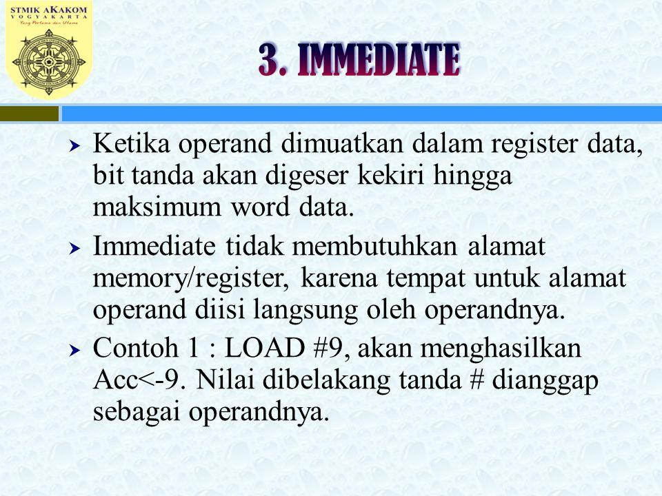 3. IMMEDIATE Ketika operand dimuatkan dalam register data, bit tanda akan digeser kekiri hingga maksimum word data.