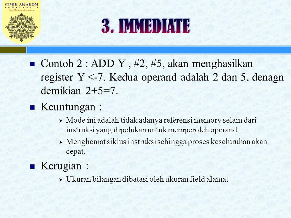 3. IMMEDIATE Contoh 2 : ADD Y , #2, #5, akan menghasilkan register Y <-7. Kedua operand adalah 2 dan 5, denagn demikian 2+5=7.