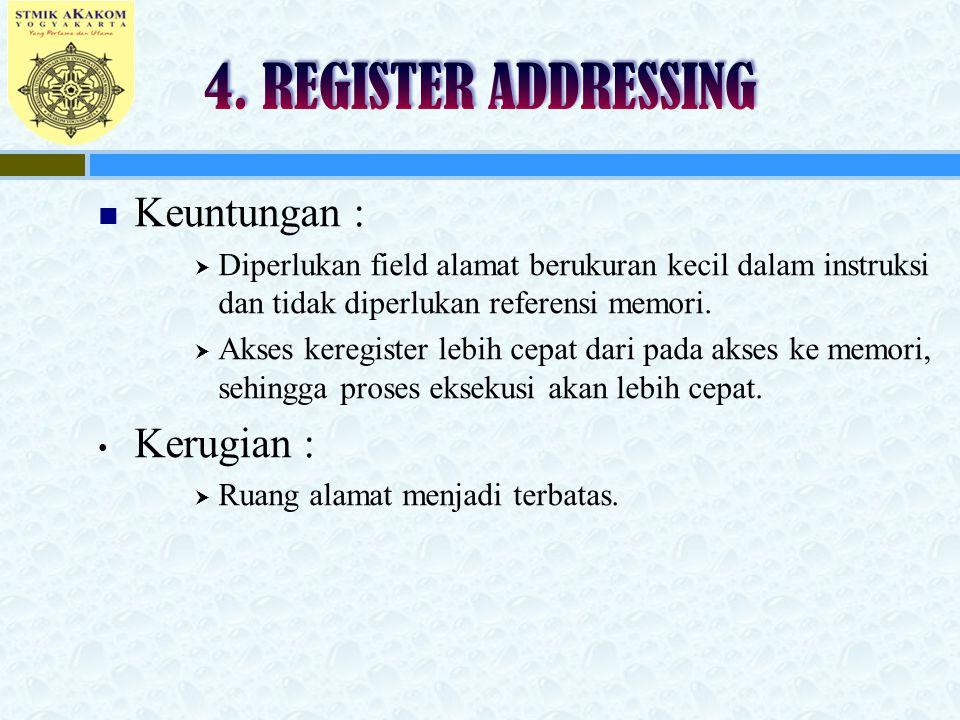 4. REGISTER ADDRESSING Keuntungan : Kerugian :