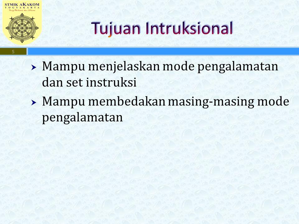 Tujuan Intruksional Mampu menjelaskan mode pengalamatan dan set instruksi. Mampu membedakan masing-masing mode pengalamatan.